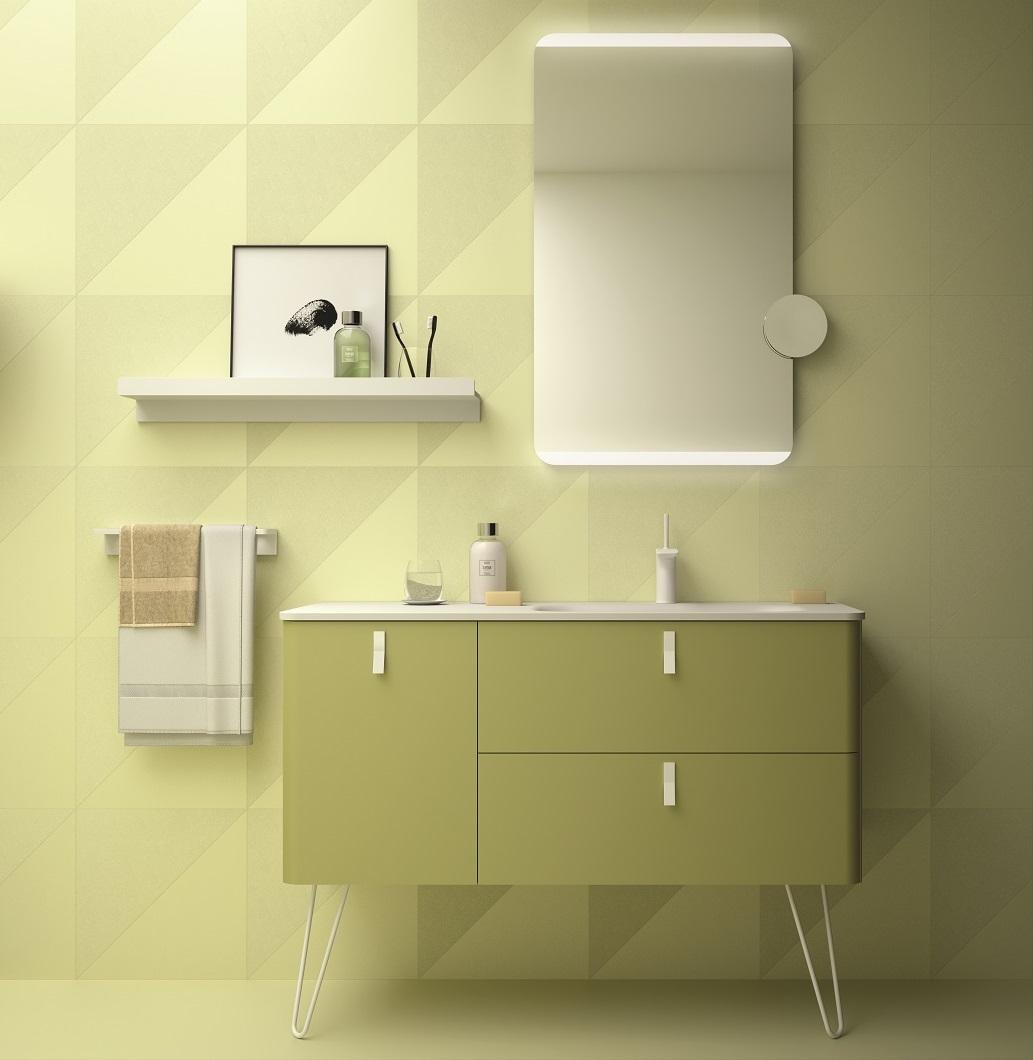 Muebles Unique badmeubel 90cm links verde groen met witte grepen