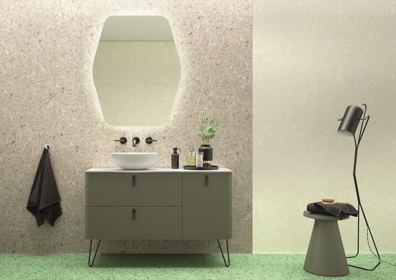 Muebles Unique badmeubel 90cm rechts bosque groen met zwarte grepen