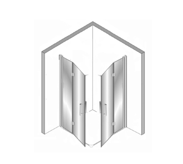 Plieger Panorama vouwdeur + vouwdeur 80 + 80x200 cm incl. vloerprofiel, chroom VOUWDEUR 80+VOUWDEUR 80 C