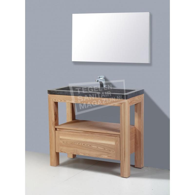 Sanilux Robusta Stone 100 cm Badmeubel Eiken met 1 lade Greeploos Softclose 2 kraangaten met Spiegel