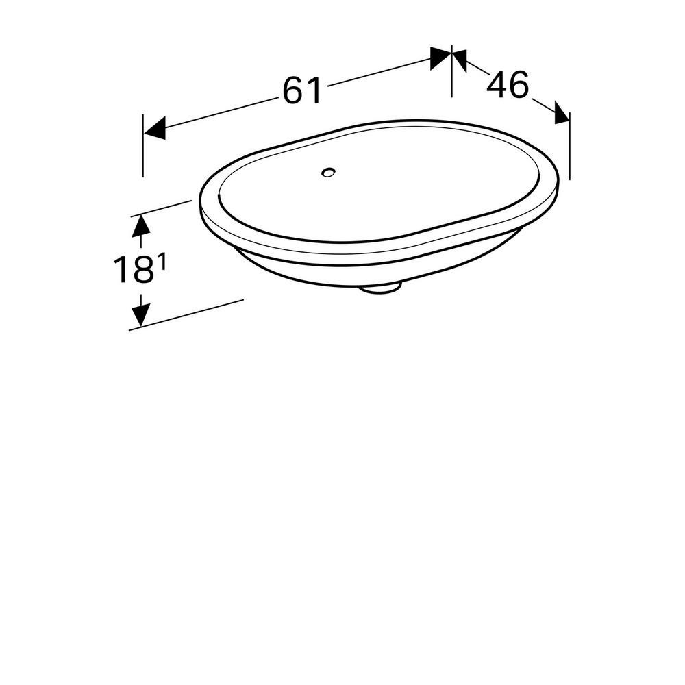 Geberit VariForm onderbouwwastafel ellips 55 cm met overloop, wit