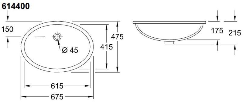 Villeroy & Boch Evana onderbouwwastafel ovaal 61 41 cm zonder kraangat met overloop Ceramicplus, wit alpin