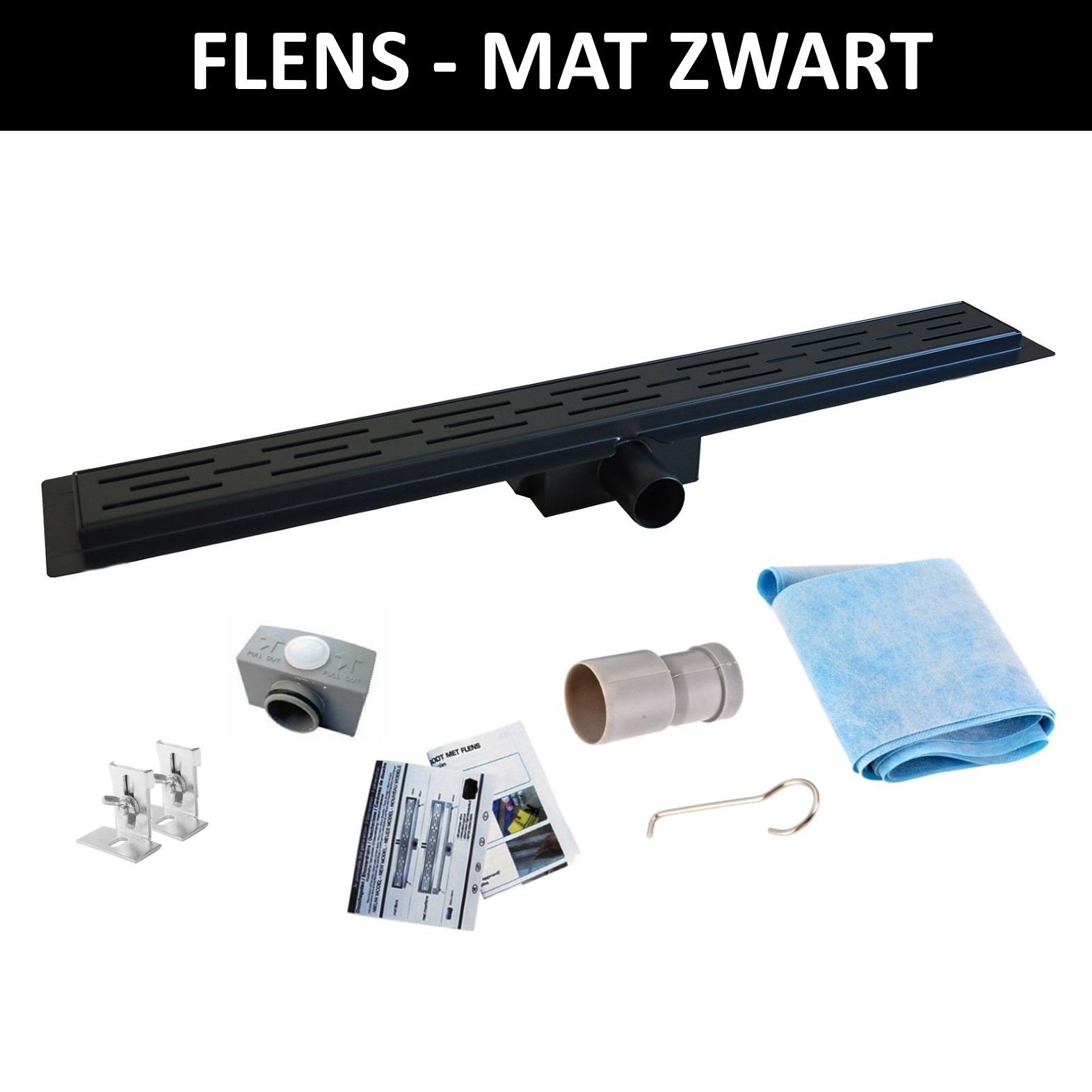 Boss & Wessing Mat Zwart RVS Douchegoot Flens met Uitneembaar Sifon MAT ZWART - Mat Zwarte RVS Douchegoot Flens Met Uitneembaar Sifon 20 cm