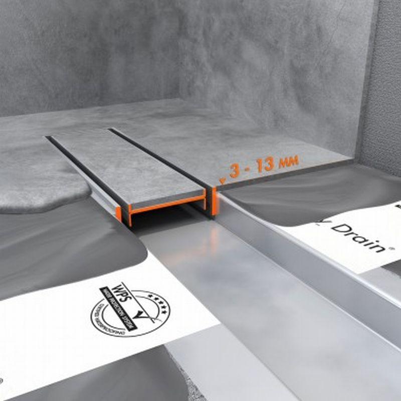 Easy Drain Compact TAF verlaagd rooster voor douchegoot 100 cm zero voor tegeldikte 3-13 mm, rvs