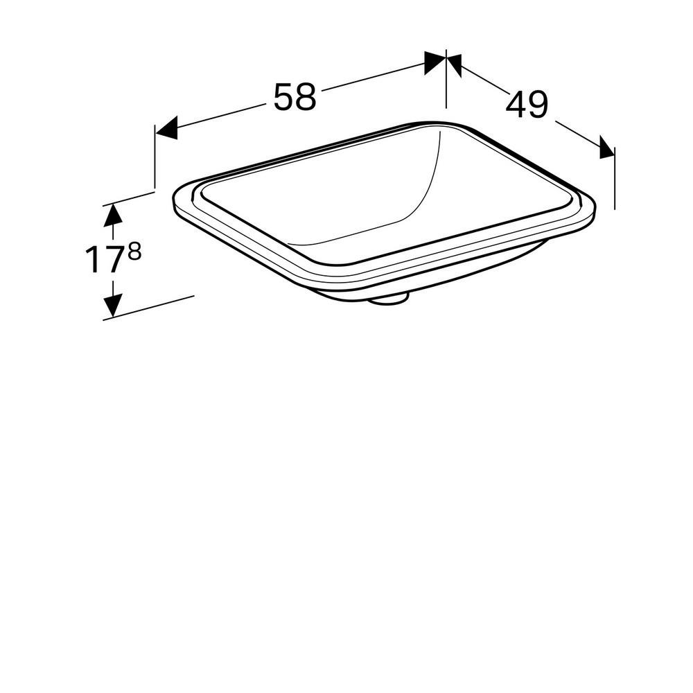 Geberit VariForm onderbouwwastafel rechthoekig 50 cm zonder overloop KeraTect, wit