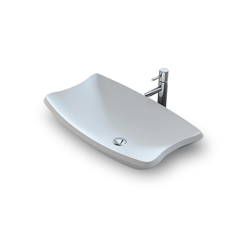 Opbouw Wastafel Bellezza Bagno Agliano Solid Surface 60x38x15 cm Mat Wit Bellezza Bagno