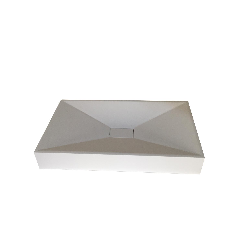Opbouw Wastafel Bellezza Bagno Alessandria Solid Surface 60x35x9 cm Mat Wit Bellezza Bagno