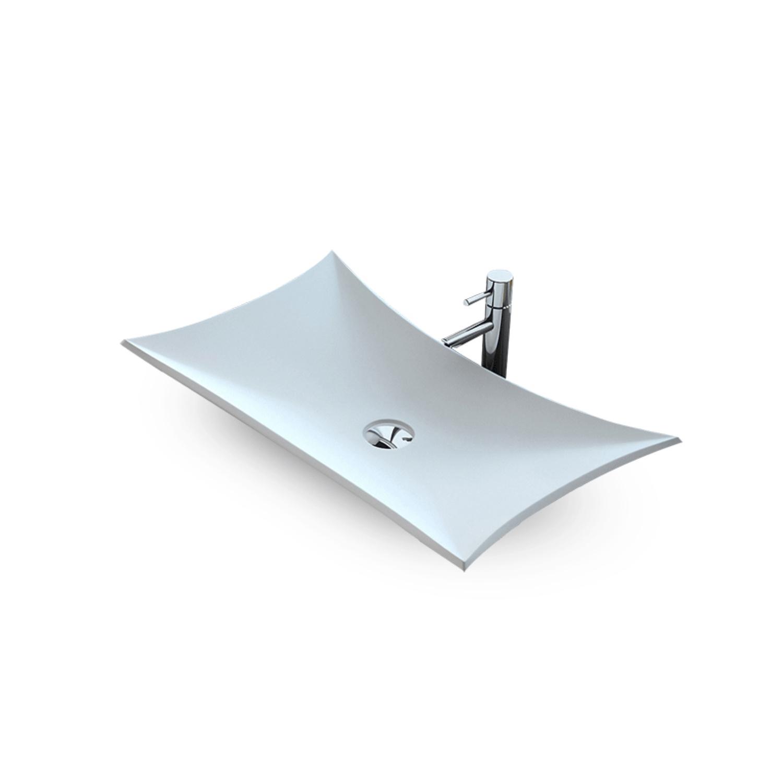 Opbouw Wastafel Bellezza Bagno Bardolino Solid Surface 64x3813.5 cm Mat Wit Bellezza Bagno