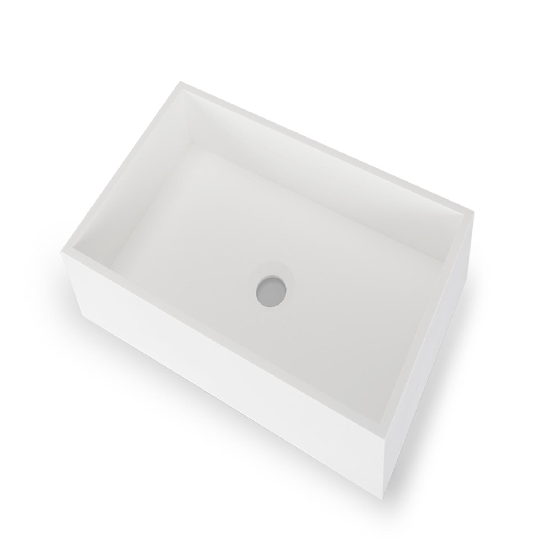 Opbouw Wastafel Bellezza Bagno Terracina Solid Surface 50x30x11 cm Mat Wit Bellezza Bagno