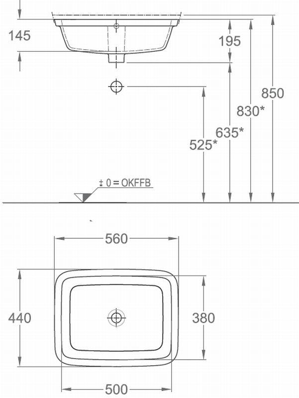 Sphinx Serie 300 specials onderbouwwastafel 50x38cm wit, wit