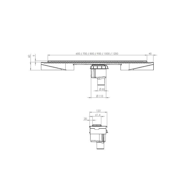 Sub Proline N wand/vloer douchegoot 120 cm met onderuitlaat, rvs